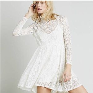 Free People Hearts Delight Dress White Lace Size S